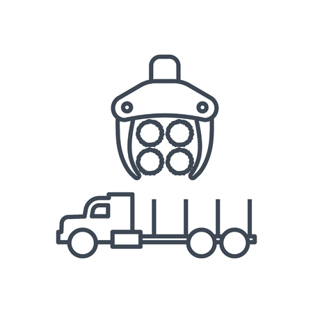 thin line icon forwarder, forestry vehicle that carries felled logs, lumber, wood, harvester Ilustrace