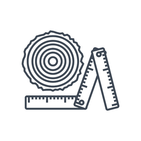 thin line icon logging industry, sawmilling, measurement, sorting log, timber, ruler Ilustrace
