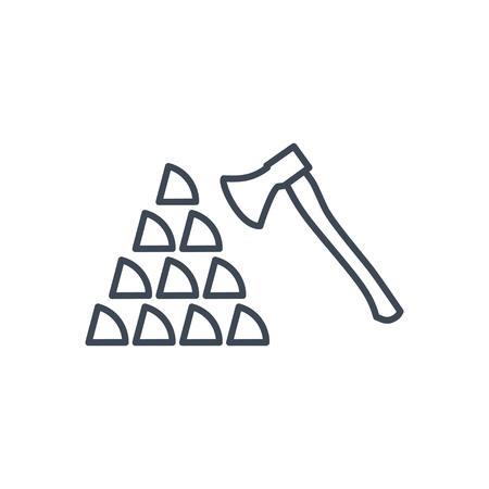 thin line icon sawmilling, chopping wood, firewood, axe Иллюстрация