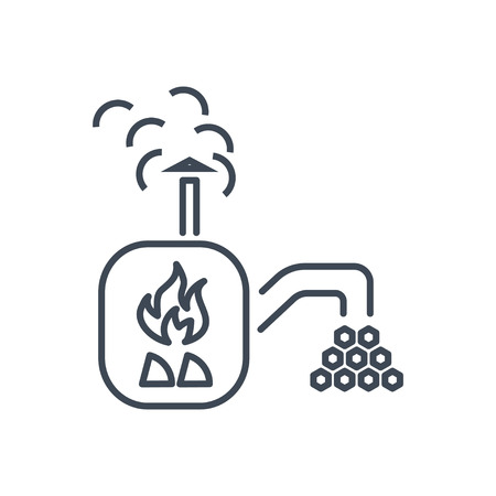 thin line icon wood processing, charcoal production, stove, oven