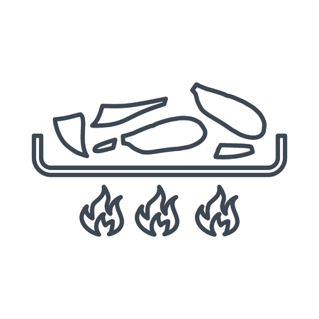 thin line icon frying food, meat, fish Ilustrace