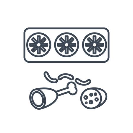 thin line icon food storage in the refrigerator, meat, ham, sausage