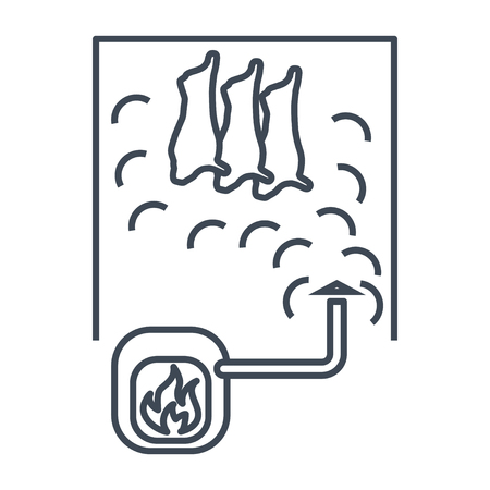 thin line icon smoked meat, smokehouse