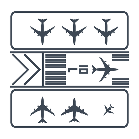 thin line icon airport runway, airplane parking Stock Illustratie
