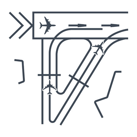 thin line icon airplane, airport runway, taxiway