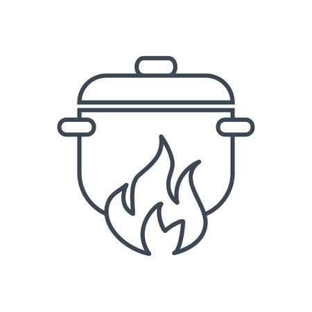 thin line icon food cooking in a saucepan