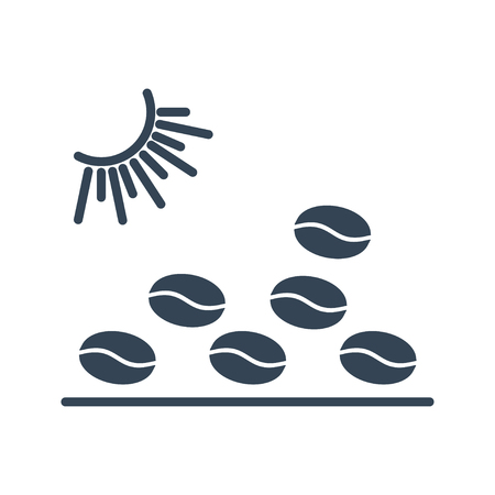 black icon of making coffee beans, sun drying process, sunlight Vetores