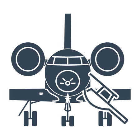 black icon private business jet airplane Illustration