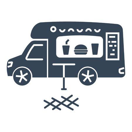 black icon food truck, kitchen van, cafe fast food 向量圖像