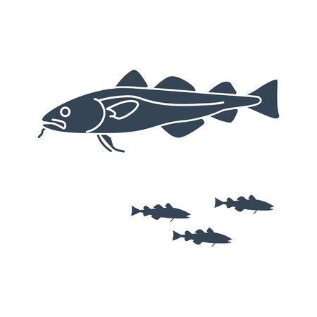 black icon fish, cod fish  イラスト・ベクター素材