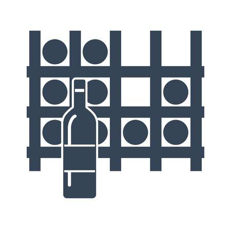 Estante de icono negro de botellas de vino, bodega