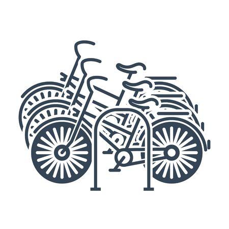 black icon bicycle, bike parking