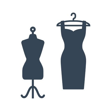 black icon clothes hanger with dress and mannequin