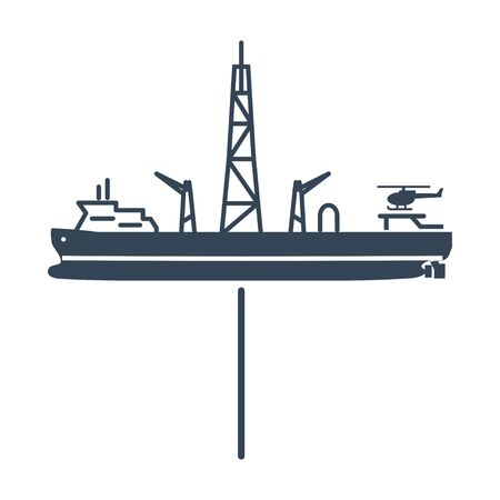 black icon drillship, gas and oil rig