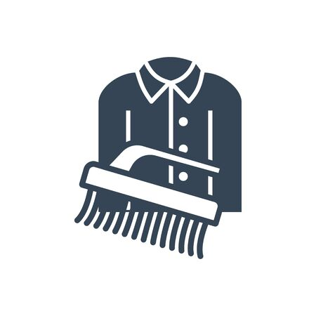 black icon dry cleaning clothes, brush