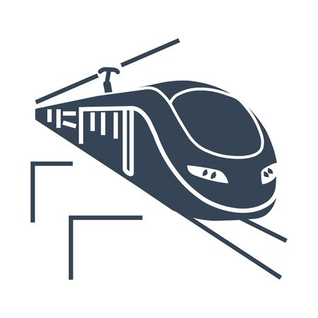 black icon high speed passenger  electric train, railway Illustration