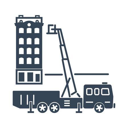 black icon fire truck, aerial ladder, building Illustration
