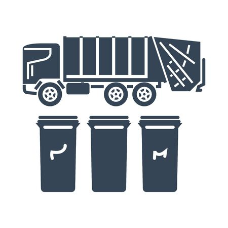black icon garbage truck, recycle bins, trash cans