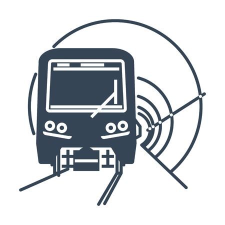 black icon underground tunnel and metro train, subway, railway  イラスト・ベクター素材