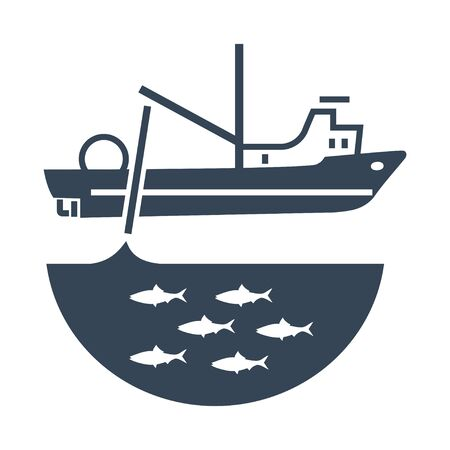 black icon trawler, seiner ship, fishing net