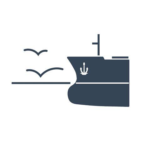 black icon  ship in open sea