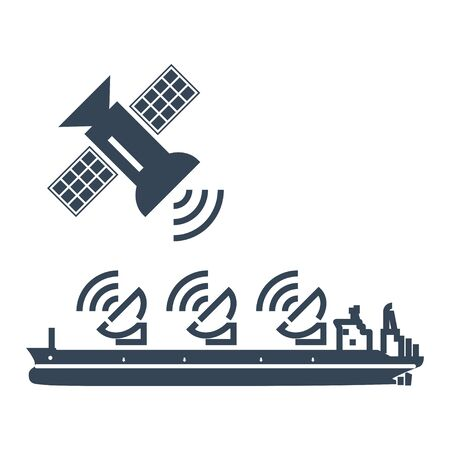 black icon radar, antenna on ship, satellite dish, connection