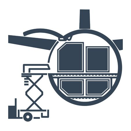 black icon cargo containers loaded into freight aircraft, airplane, loading platform  イラスト・ベクター素材