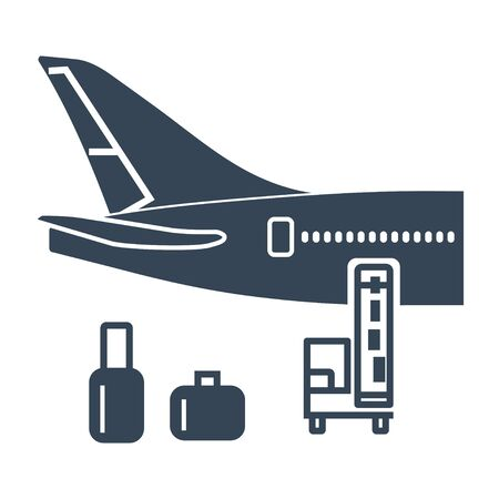 black icon luggage, goods, cargo loaded on the plane, belt loader, transporter 写真素材 - 132199214