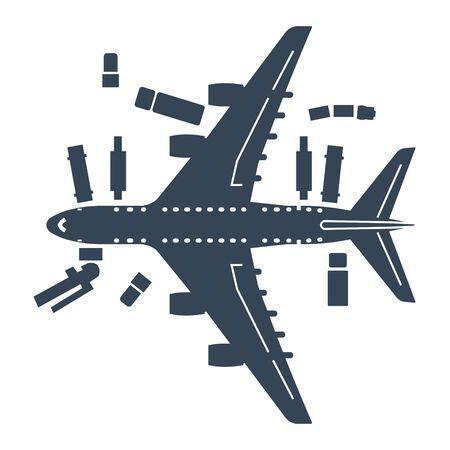 avion icône noire en service, maintenance, véhicules d'assistance au sol