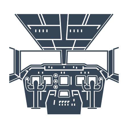 black icon interior of cockpit passenger airplane, instrument panel