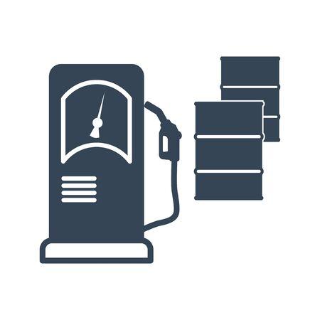 black icon gas station, barrel