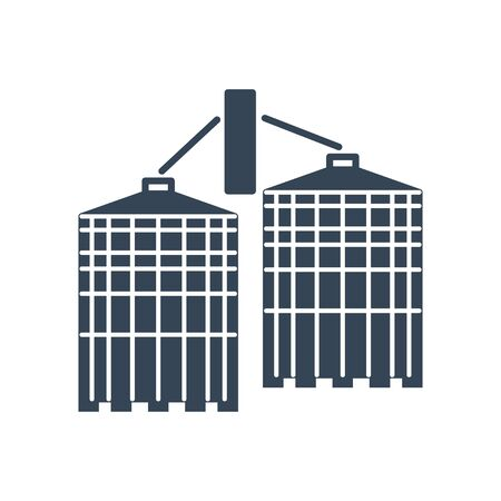 black icon agricultural silos, grain elevator, granary, storage and drying of grains, wheat, corn, soy