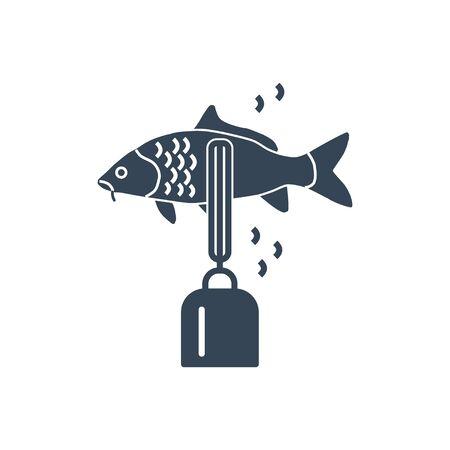 icône noire traitement du poisson, élimination des écailles de poisson à l'aide d'un écailleur de poisson électrique