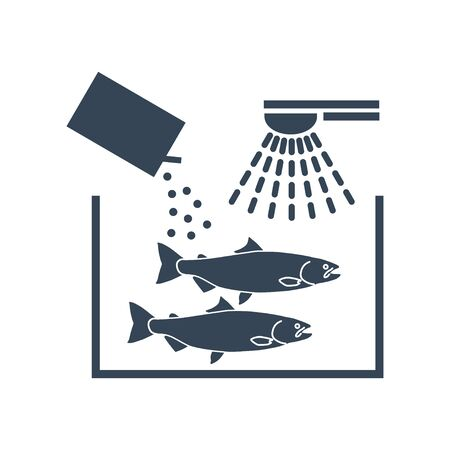 black icon fish processing, washing and cleaning fish