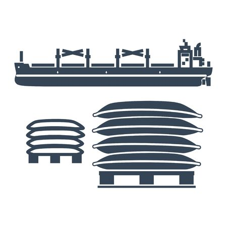 black icon dry cargo ship, bulk carrier, pallet, bags  イラスト・ベクター素材