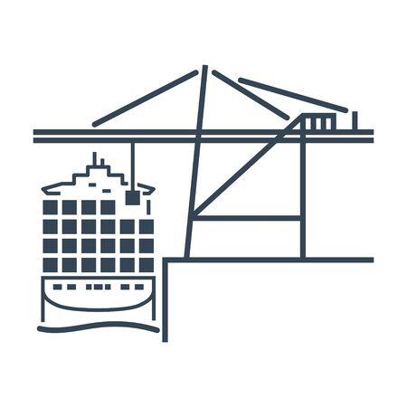 black icon container crane, cargo ship, port terminal