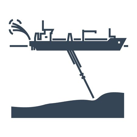 black icon dredger ship, waterway
