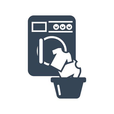 black icon laundry, washing machine, loading clothes