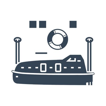 black icon lifeboat on the ship
