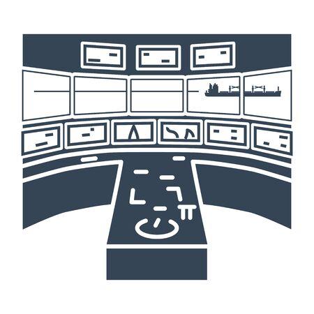 black icon bridge of a ship, wheelhouse, radar, control room, cabin of captain