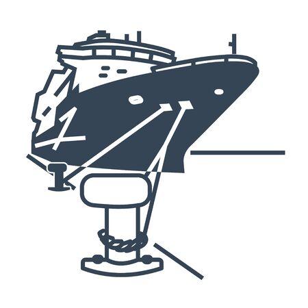 Barco icono negro amarrado en el puerto, bolardo con amarras