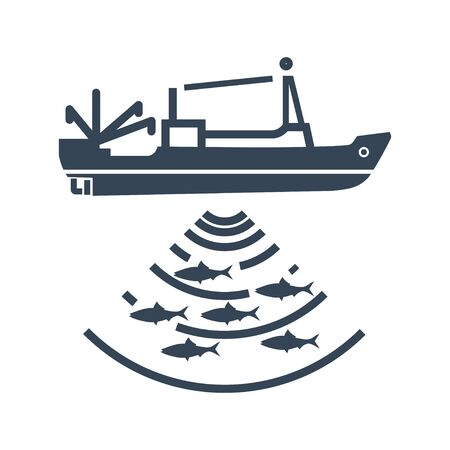 black icon fishing vessel, trawler, seiner, radar