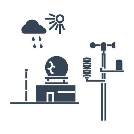estación meteorológica de icono negro, radar