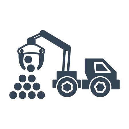black icon lumber, wood, logging industry, skidder, harvester  イラスト・ベクター素材