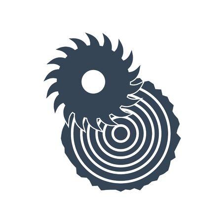 black icon lumber, wood, sawmilling, saw cutting log, timber  イラスト・ベクター素材
