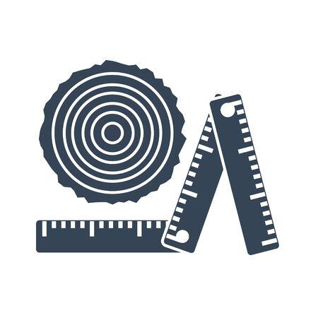 black icon logging industry, sawmilling, measurement, sorting log, timber, ruler
