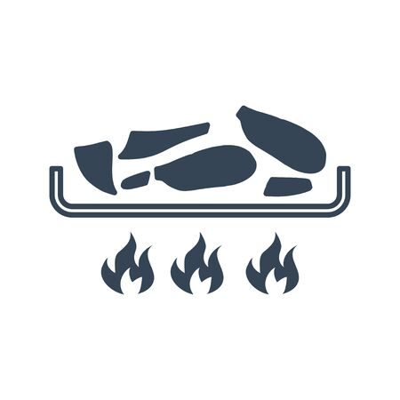 black icon frying food, meat, fish  イラスト・ベクター素材