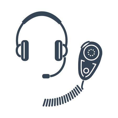 black icon walkie talkie, radio set, headphones