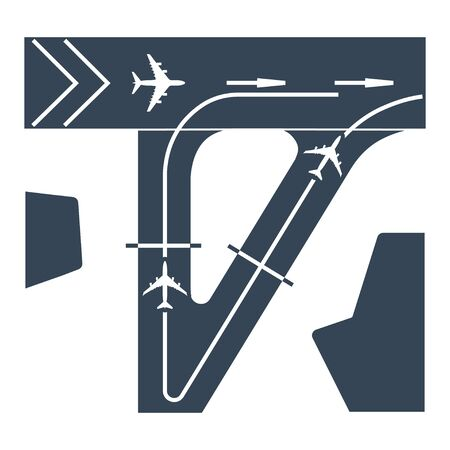 black icon airplane, airport runway, taxiway  イラスト・ベクター素材