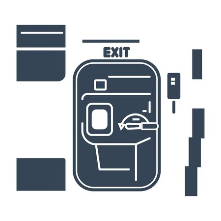 black icon airplane interior, door exit on the plane Иллюстрация